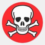 Cráneo y pirata de la bandera pirata pegatinas