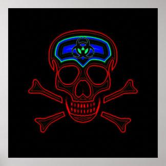 Cráneo y poster de neón rojos de la bandera pirata