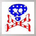 Cráneo y poster patrióticos de la bandera pirata