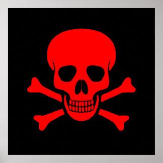 Cráneo y poster rojos de la bandera pirata
