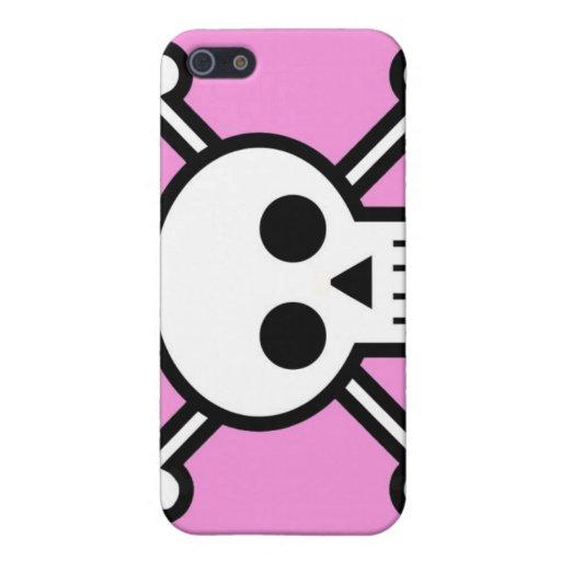 cráneo y rosa del iPhone de la bandera pirata iPhone 5 Fundas