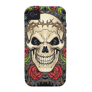 Cráneo y rosas con la corona de espinas por el Al Case-Mate iPhone 4 Funda