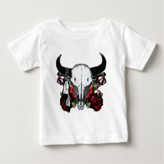 Cráneo y rosas del búfalo tee shirts