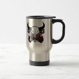 Cráneo y rosas del búfalo taza de viaje de acero inoxidable