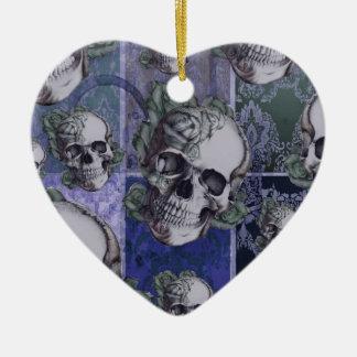 Cráneo y rosas del Victorian Azul real Ornamentos De Navidad