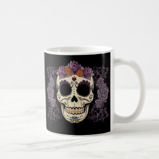 Cráneo y rosas del vintage taza básica blanca