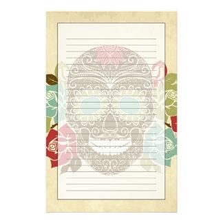 Cráneo y rosas, día colorido de la tarjeta muerta papeleria de diseño