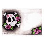 Cráneo y rosas invitaciones personales