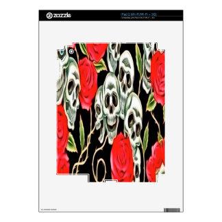 Cráneo y rosas iPad 2 skins