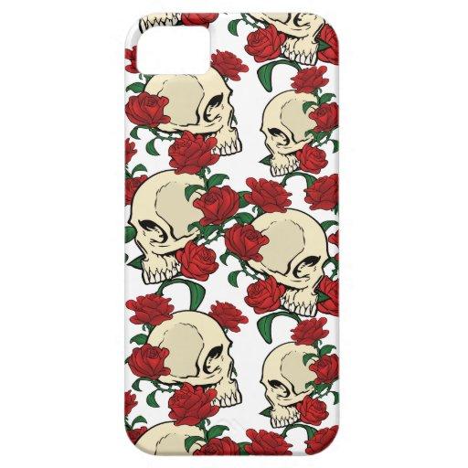 Cráneo y rosas iPhone 5 fundas