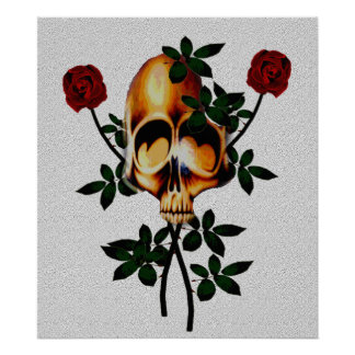 Cráneo y rosas impresiones
