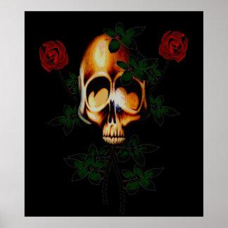 Cráneo y rosas poster