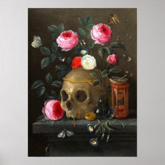 Cráneo y rosas posters