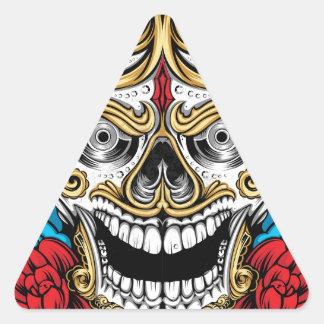 CRÁNEO Y ROSAS por LA DESCARGA del ARTE Pegatinas De Triangulo Personalizadas