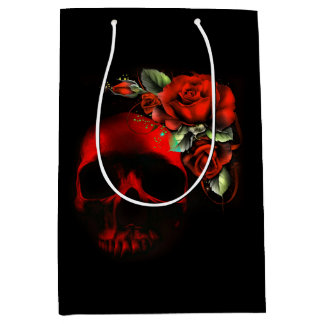 Cráneo y rosas rojos y negros bolsa de regalo mediana
