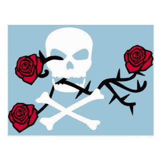 Cráneo y rosas tarjetas postales