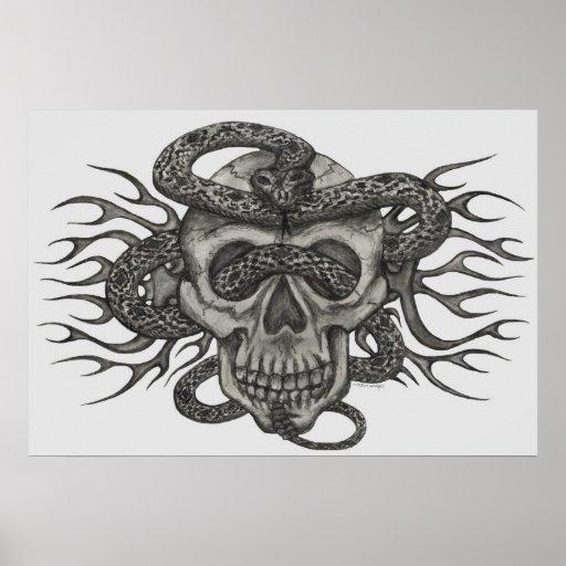 cráneo y serpiente posters