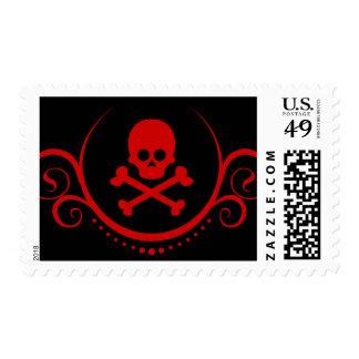 cráneo y sofisticaciones de la bandera pirata sello