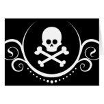 cráneo y sofisticaciones de la bandera pirata tarjeton