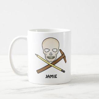 Cráneo y T-Cuadrado Taza De Café