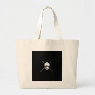 Cráneo y tacos de billar bolsa tela grande