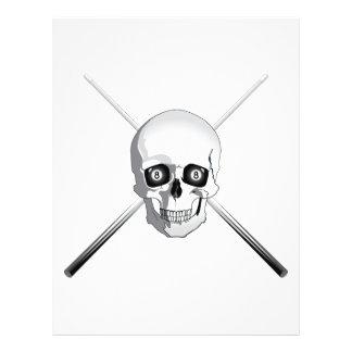 """Cráneo y tacos de billar folleto 8.5"""" x 11"""""""