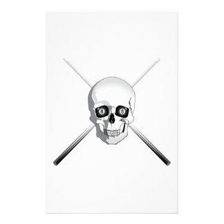 Cráneo y tacos de billar  papeleria