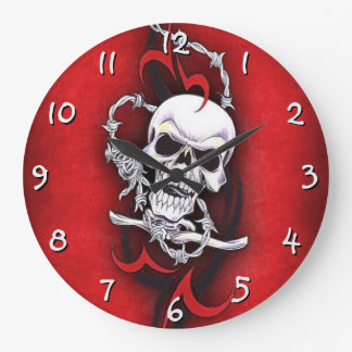 Cráneo y tatuaje tribal reloj redondo grande