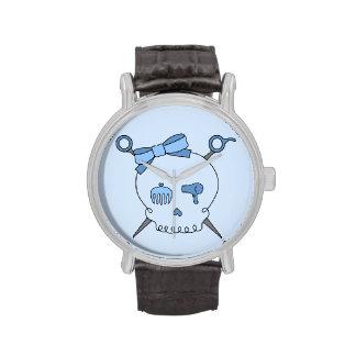 Cráneo y tijeras accesorios del pelo azules reloj de mano
