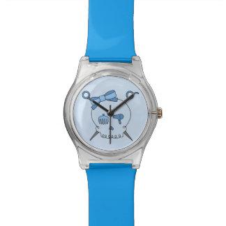 Cráneo y tijeras accesorios del pelo (azules) relojes de mano