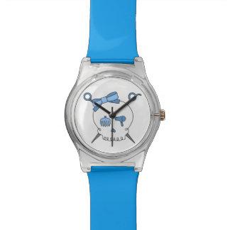 Cráneo y tijeras accesorios del pelo (azules) relojes
