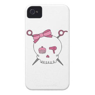 Cráneo y tijeras accesorios del pelo Case-Mate iPhone 4 carcasa