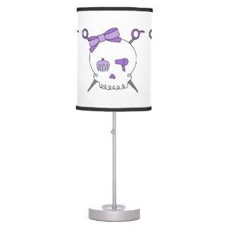 Cráneo y tijeras accesorios del pelo (púrpuras) lámpara de mesilla de noche