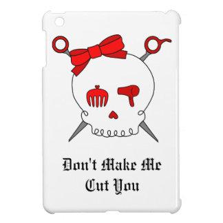 Cráneo y tijeras accesorios del pelo (rojos) iPad mini protectores