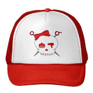 Cráneo y tijeras accesorios del pelo (rojos) gorras de camionero