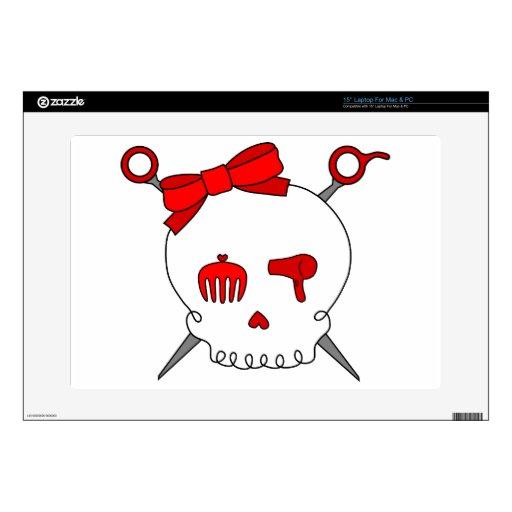 Cráneo y tijeras accesorios del pelo (rojos) 38,1cm portátil calcomanías