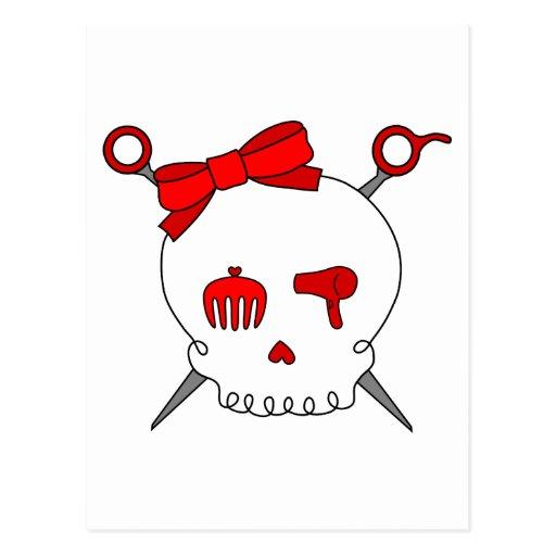 Cráneo y tijeras accesorios del pelo (rojos) postales