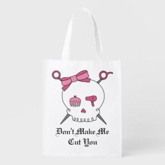 Cráneo y tijeras accesorios (rosa) del pelo bolsas de la compra