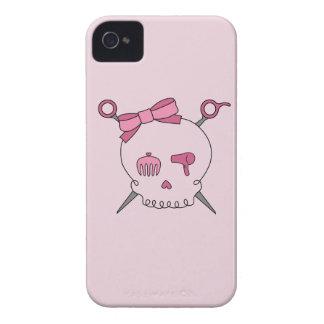 Cráneo y tijeras accesorios (rosa) del pelo iPhone 4 cárcasa