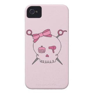 Cráneo y tijeras accesorios (rosa) del pelo iPhone 4 coberturas