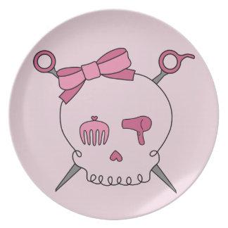 Cráneo y tijeras accesorios (rosa) del pelo plato de comida