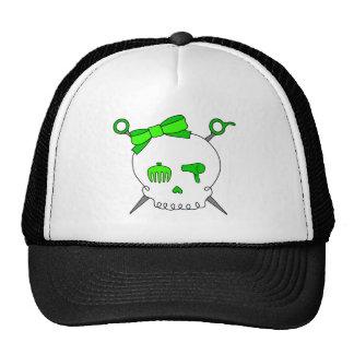 Cráneo y tijeras accesorios (verde lima) del pelo gorros bordados