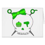 Cráneo y tijeras accesorios (verde lima) del pelo tarjeta