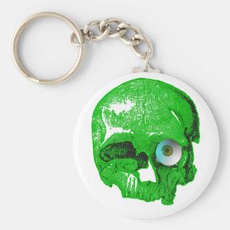 Cráneo y verde Globo del ojo-Horrible Llavero Redondo Tipo Pin