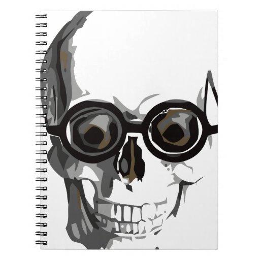 Cráneo y vidrios libro de apuntes