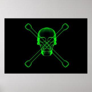 Cráneo y visión de la radiografía de la Bandera pi Póster