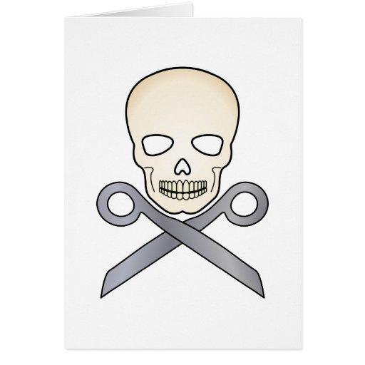 Cráneo y X-Tijeras Tarjeta De Felicitación