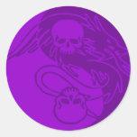 Cráneos 6 de Yin Yang Etiquetas Redondas