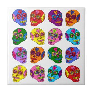 Cráneos adaptables del azúcar de Lucha Libre Azulejo Cuadrado Pequeño