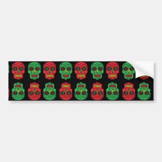 Cráneos adaptables del azúcar de Navidad Pegatina De Parachoque